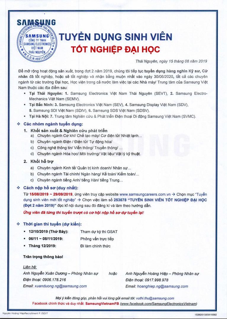 Hội thảo việc làm của Công ty TNHH Samsung Electronics Việt Nam - 12/09/2019